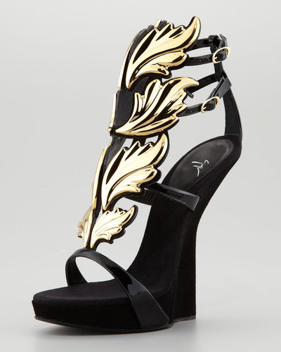 Giuseppe Zanotti Patent Leather and Suede Sandals with Leaf Detail