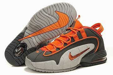 nike penny one basketball shoes grey and orange 26942