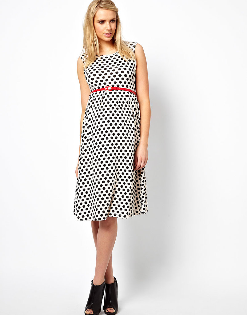 ASOS's midi skater dress ($48) offers a slightly longer hemline and gets a pop of color from its red patent belt.