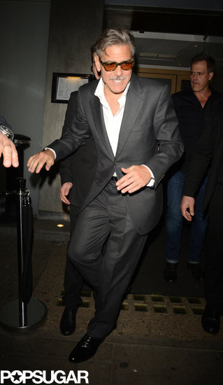 George Clooney left Nobu restaurant in London.