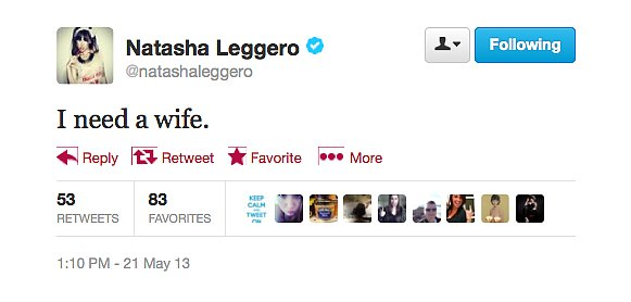 @natashaleggero could really use a wife.