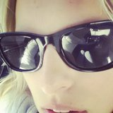 Karolina Kurkova gave us a close-up of her wayfarer shades during an early flight. Source: Instagram user karolinakurkova