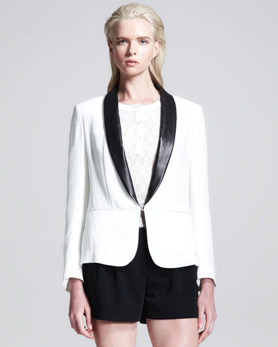 Rag & Bone Sliver Leather-Lapel Tuxedo Blazer