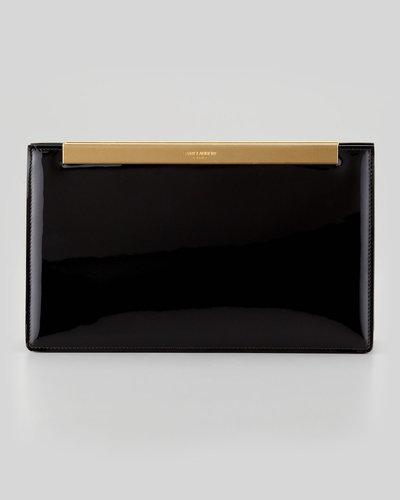 Saint Laurent Lutetia Patent Leather Clutch Bag, Black