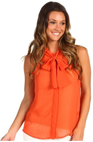 Sanctuary - Dani Bow Blouse (Coral Reef) - Apparel