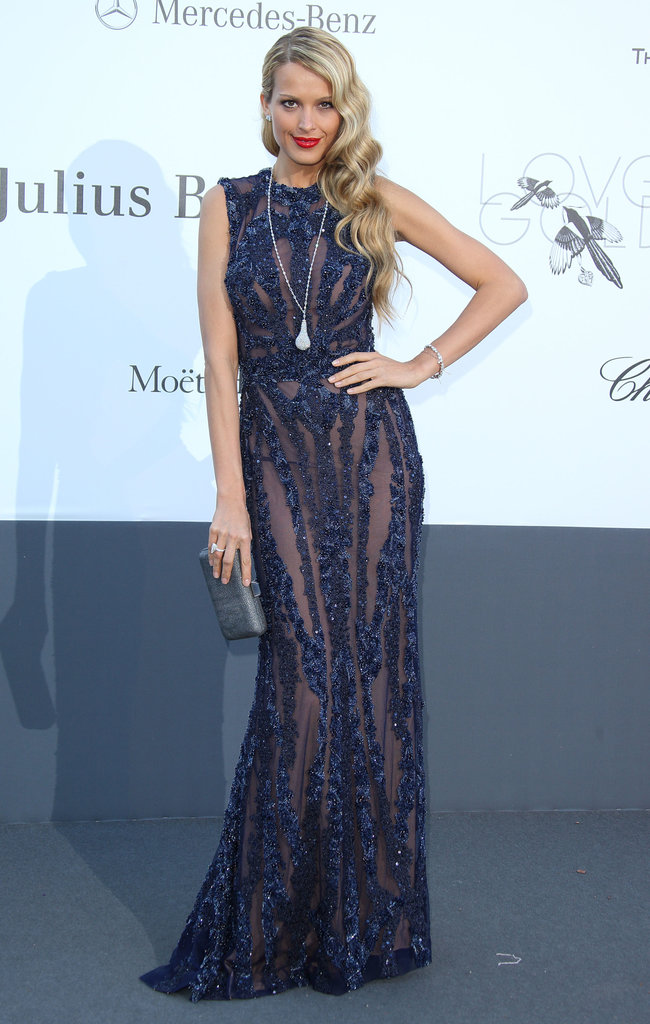 Petra Nemcova vamped in her navy sequined sheer Elie Saab gown.