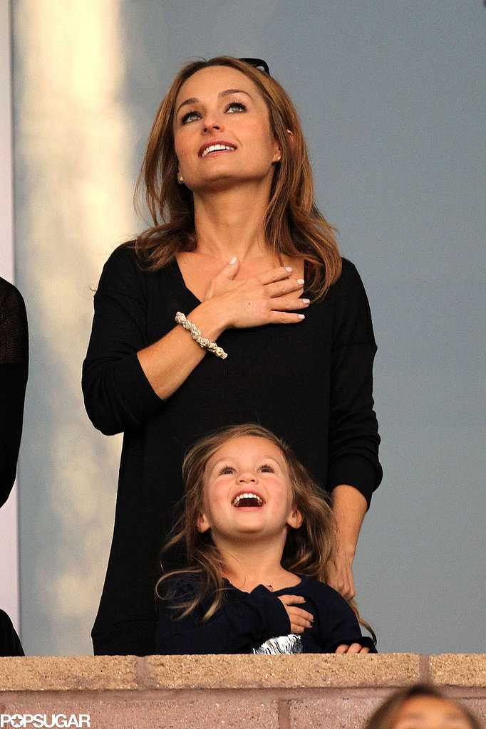 Giada de Laurentiis and her daughter, Jade, geared up for one of David Beckham's October 2012 games by observing the national anthem in LA.