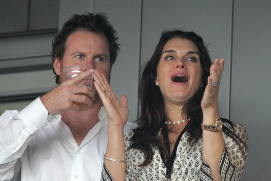 Brooke Shields and husband Chris Henchy were there to watch David Beckham's first game with the LA Galaxy in July 2007.