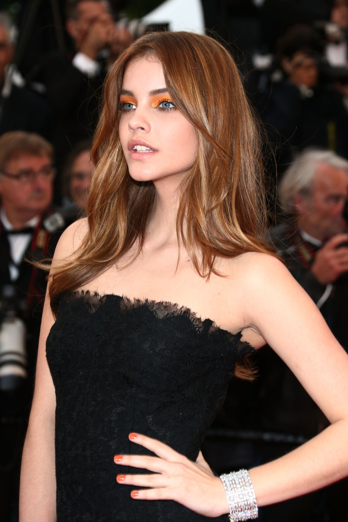Babara Palvin making quite a statement with bright tangerine eyeshadow.