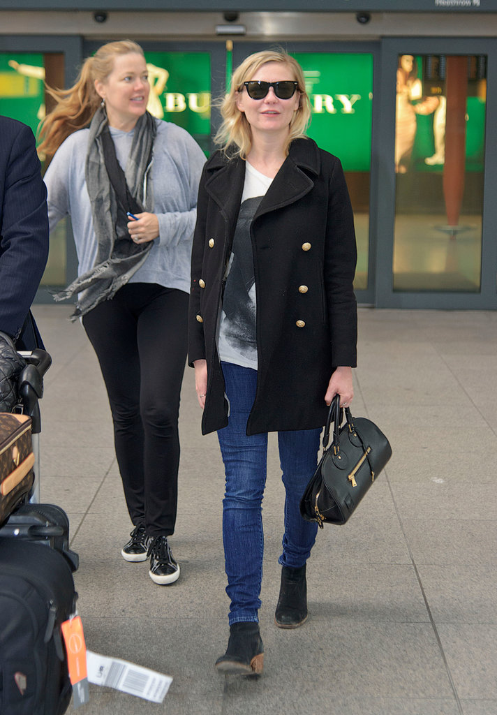 Kirsten Dunst knows the power of a classic pea coat. Add a print tee and Bob's your uncle.