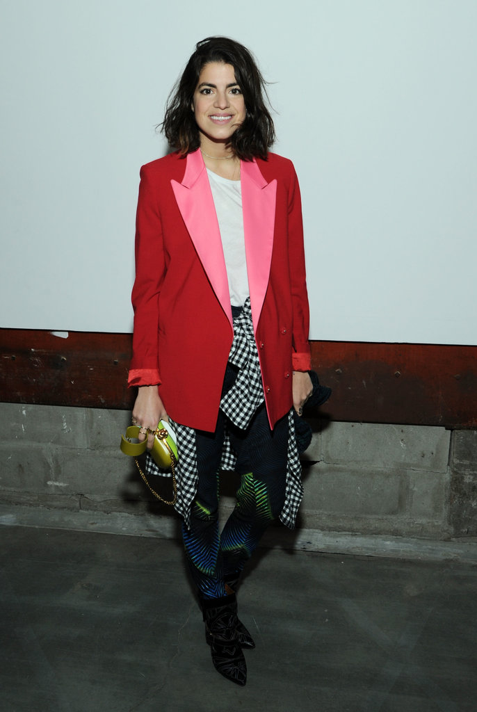 Man Repellent? Not so much. Leandra Medine adds colour to her Winter wardrobe via a punchy power blazer.