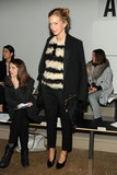 US Vogue's Meredith Melling Bourke puts a spin on the classic striped knit by opting for a textural weave.