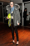 Jenna Lyons makes cold weather dressing look inviting via this dynamic pairing. Wardrobe essentials (anorak, leather skinnies, denim shirt) get a cool update with quirky cool accessories (neon satchel, geek-chic glasses).