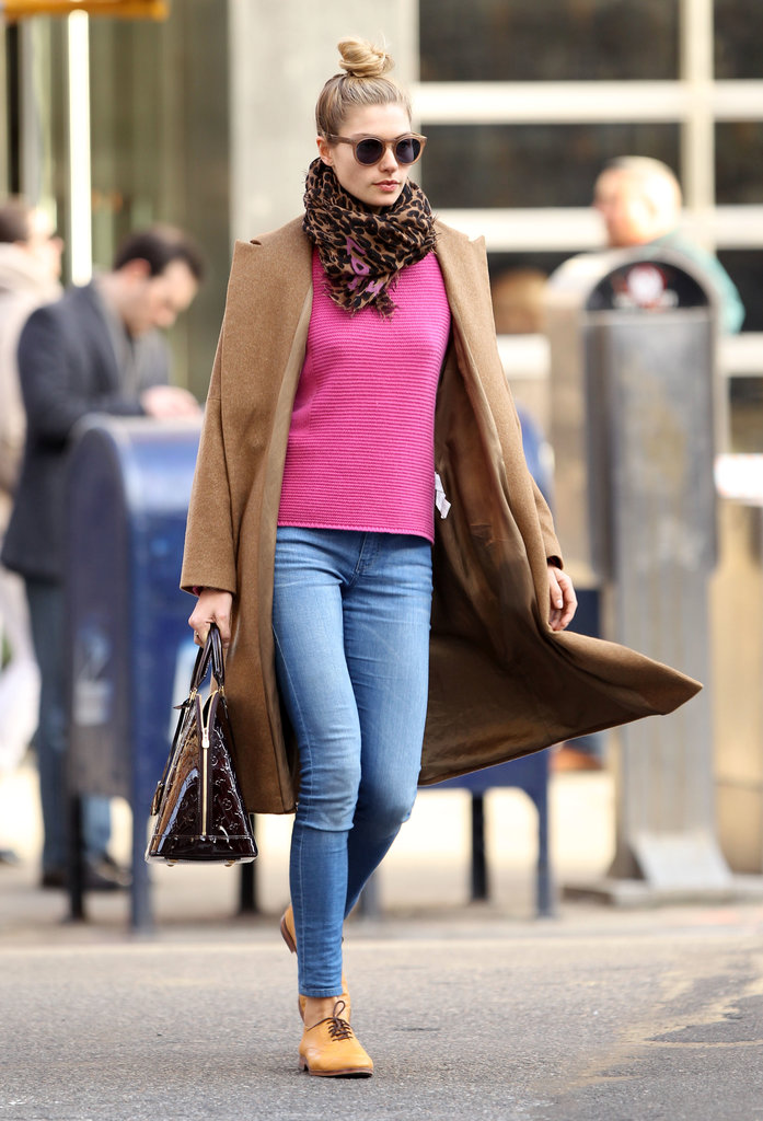 Jessica Hart peps up a cold day with a hot pink sweater. Genius.