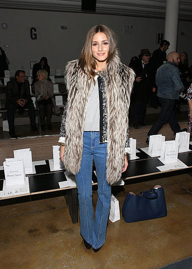 Taking a leaf out of Rachel Zoe's Winter style book, Olivia Palermo tries out the fur gilet. Layer over a tweed jacket for added textural intrigue.