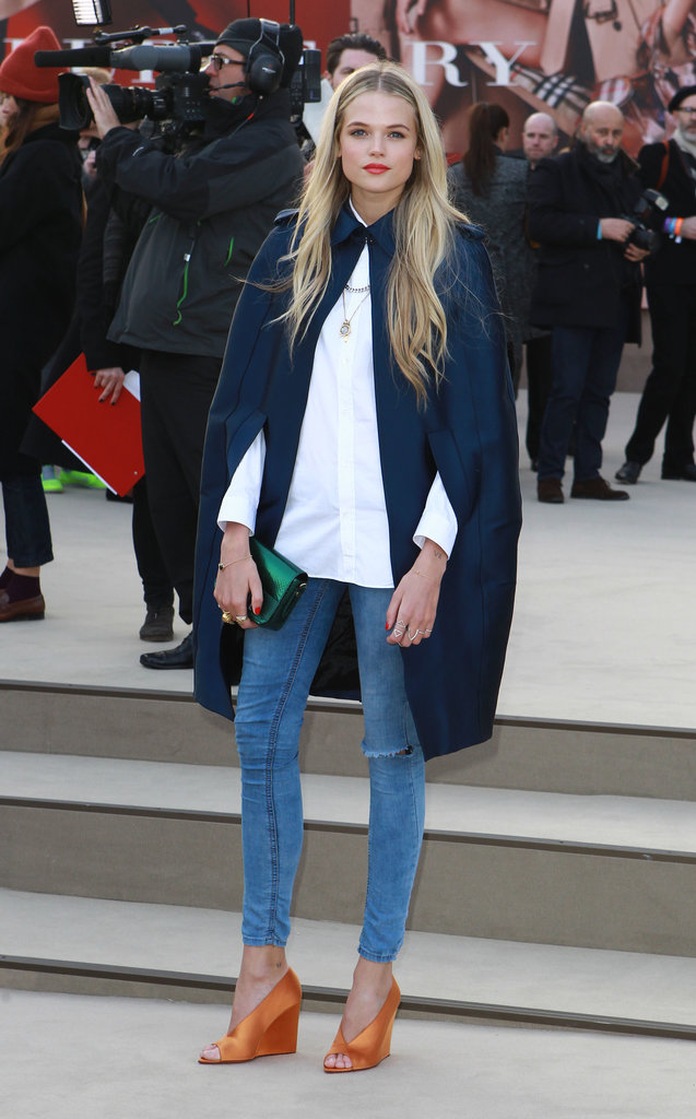 British beauty Gabriella Wilde makes us want to wear a cocoon cape. Immediately.
