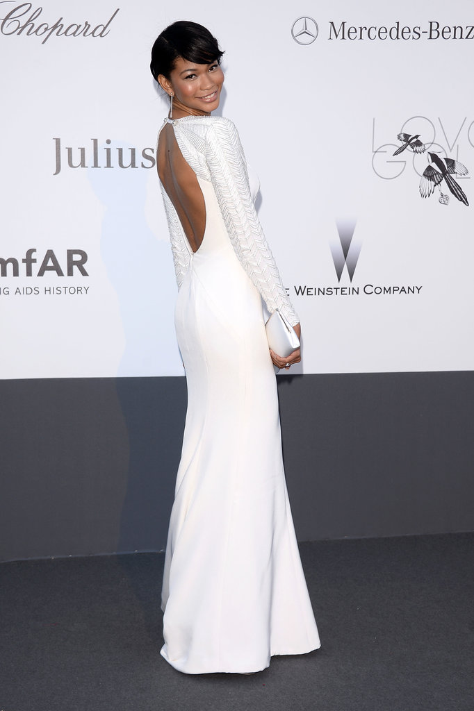Chanel Iman looked stunning in a simple, floor-sweeping white gown with an exposed back.