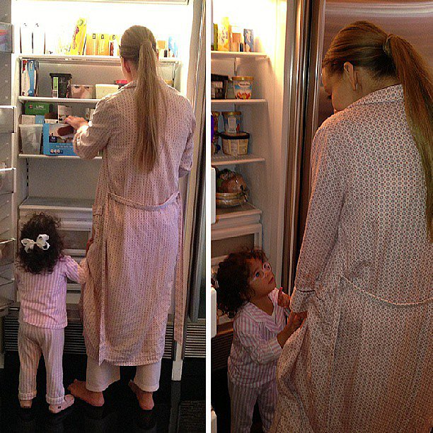 Mariah Carey and Monroe Cannon paid a late-night visit to the refrigerator for a little snack. Source: Instagram user mariahcarey