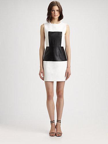 Tibi Amelie Leather Panel Dress