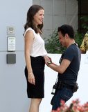 Jennifer Garner smiled during wardrobe adjustments in Cleveland, OH, on Monday while filming Draft Day.