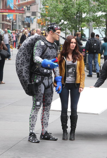 Megan Fox shot scenes for Teenage Mutant Ninja Turtles in NYC on Tuesday.