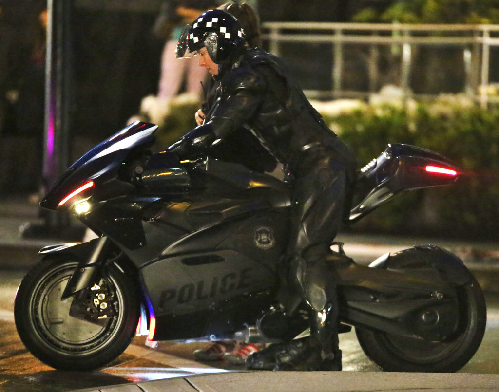 Joel Kinnaman hopped on a motorcycle in Vancouver on Sunday to shoot RoboCop.