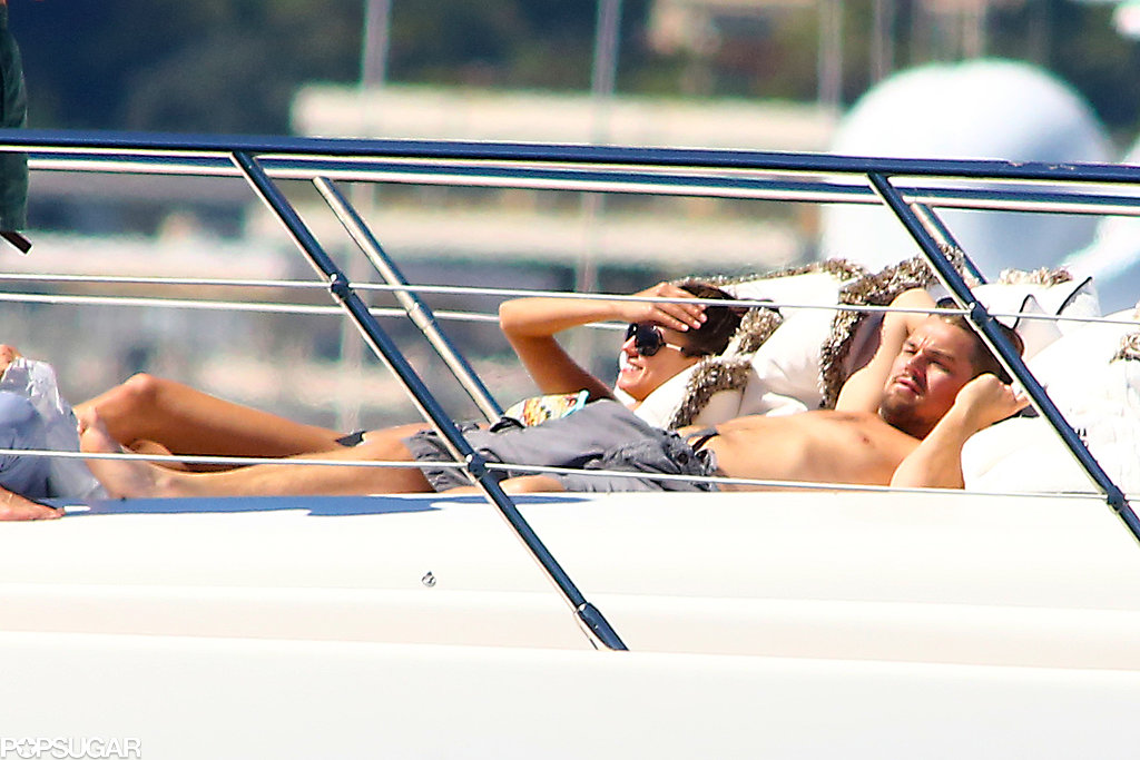 Leonardo DiCaprio relaxed shirtless on a yacht with a group of models in the South of France in May.