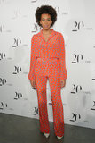 Solange Knowles stopped by Intermix's 20th anniversary party to mingle, DJ a set, and look fly the whole time. We love her fearless approach to dressing, including pairing a Diane von Furstenberg blouse and matching pants for a bold look.