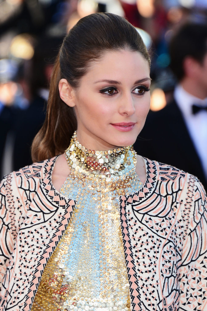 On the Immigrant red carpet, Olivia Palermo wore a sleek, dressed-up ponytail and gold-flecked eye shadow.