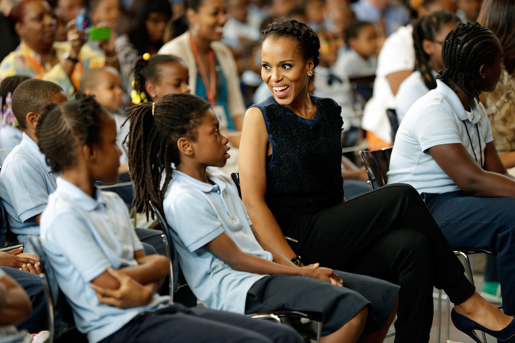 Kerry Washington smiled and laughed with Savoy students.