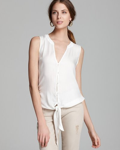 Soft Joie Shirt - Fanning Button Down Tie Front