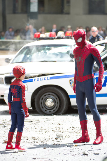 Andrew Garfield and Jorge Vegas suited up for scenes from The Amazing Spider-Man 2.