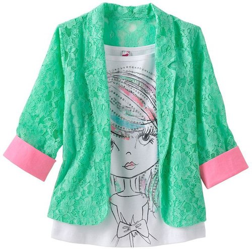 Knitworks neon lace blazer and girl tank set - girls 7-16