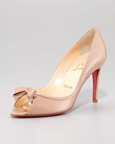Christian Louboutin Milady Patent Leather Bow Peep-Toe Red Sole Pump