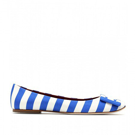 ROGER VIVIER BLUE GOMMETTE STRIPED BALLERINAS