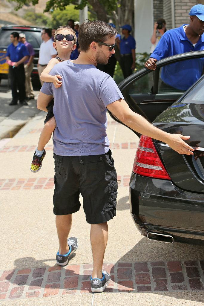 Tobey Maguire brought his son, Otis, to Joel Silver's party in Malibu on Monday.