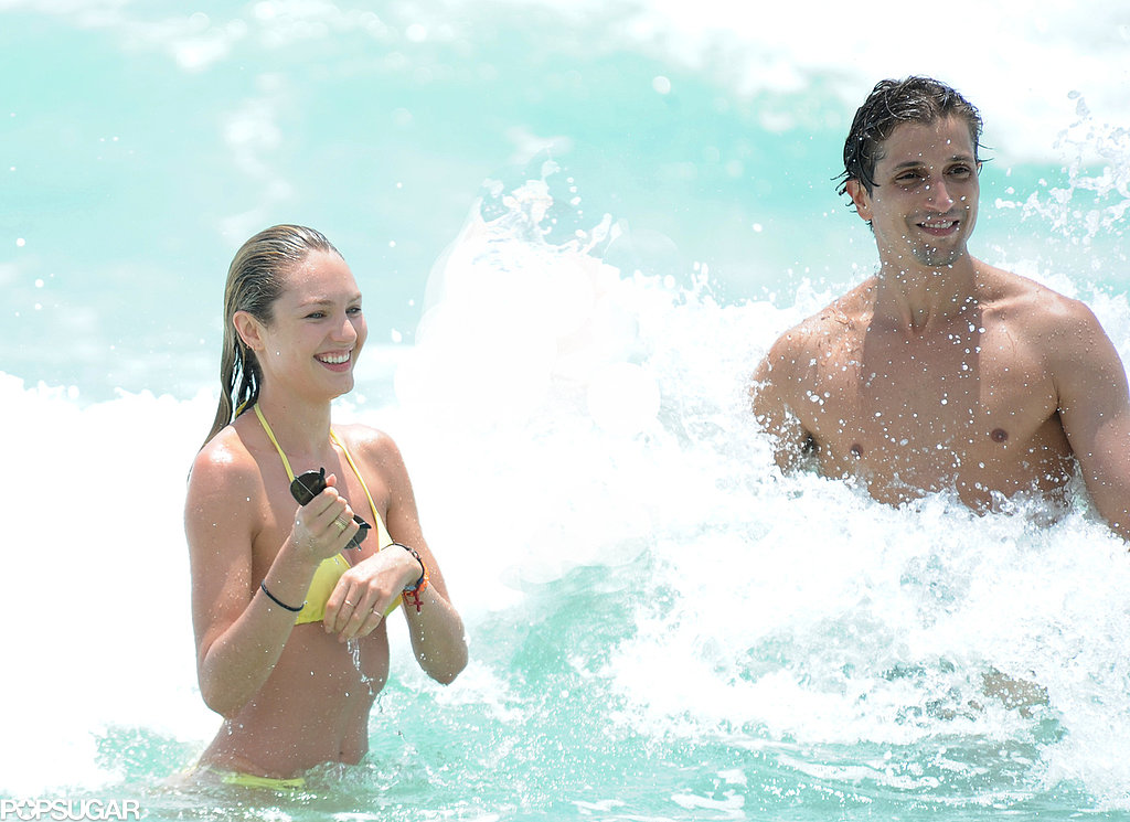 Candice Swanepoel and boyfriend Hermann Nicoli splashed around in Miami on Monday.