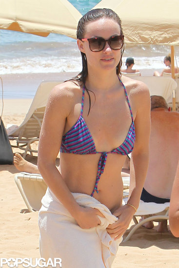Olivia Wilde wore a striped bikini in Hawaii.