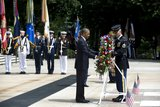 The president laid a wreath at Arlington National Cemetery.