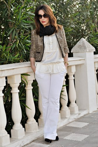 Total white & Tweed Jacket