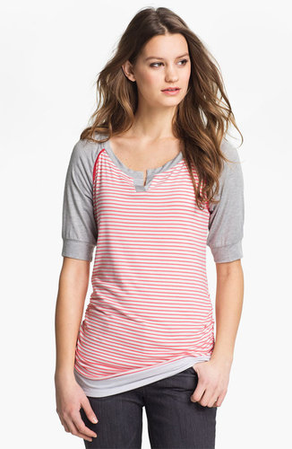Olivia Moon Split Neck Colorblock Tee