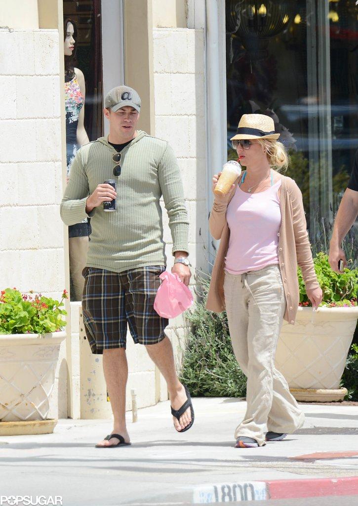 Britney Spears took an afternoon walk with her boyfriend, David Lucado.