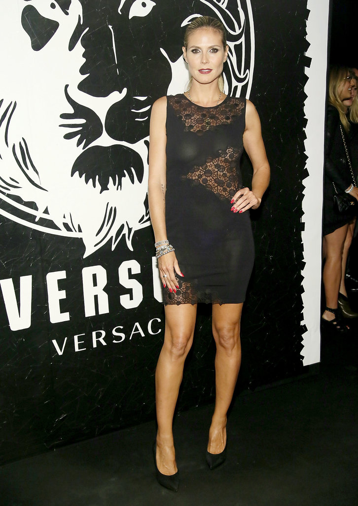 Heidi Klum in a Sheer-Inset Versace at a 2013 Versus Versace Event