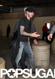 David Beckham walked through LAX airport.