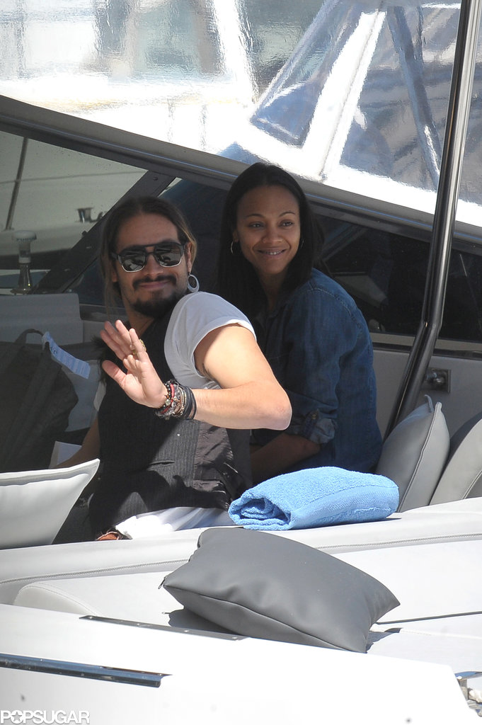 Marco Perego and Zoe Saldana took a boat ride in Capri.