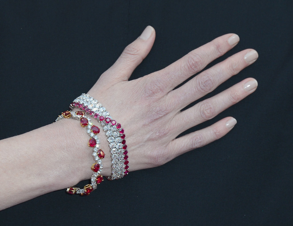 Nicole Kidman wore ruby and diamond bracelets.