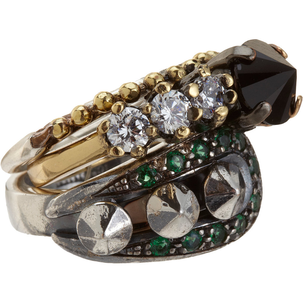 The layered look is instantly easier when it's prefab. Iosselliani's fused ring ($199, originally $330) makes it seem like you're getting multiple gems for the price of one.