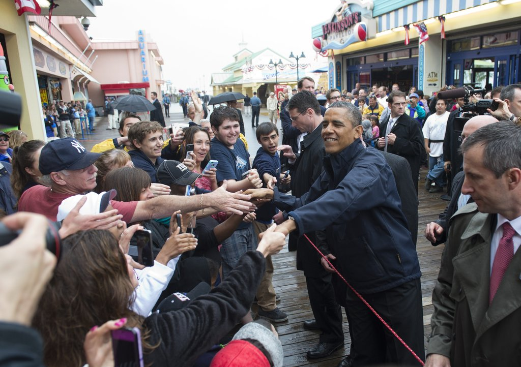 President Obama shook hands with onlookers as he passed through the crowd.