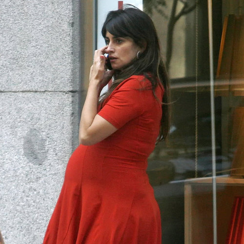 Penelope Cruz Pregnant in a Red Dress