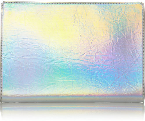 Stella McCartney Holographic faux leather clutch